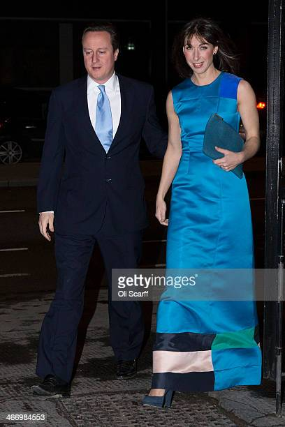 British Prime Minister David Cameron and his wife Samantha arrive at the Old Billingsgate Market to attend the the annual Conservative Party Black...