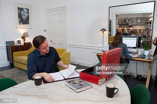 British Prime Minister David Cameron and his wife Samantha at home in the apartment above 11 Downing Street where they live with their 3 children...