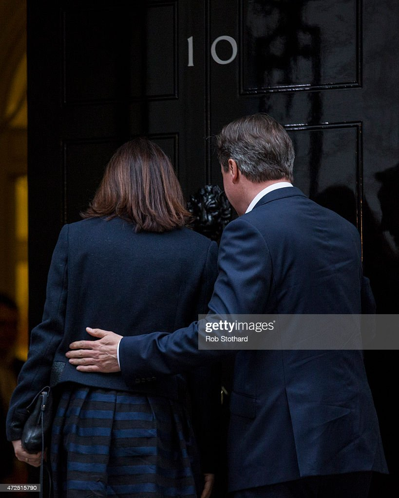 David Cameron Arrives In London As Conservatives Are Projected To Win The General Election : News Photo