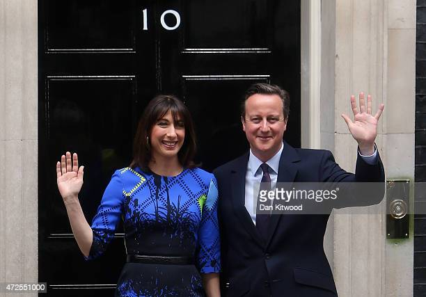 British Prime Minister David Cameron and his wife Samantha Cameron arrive at Downing Street on May 8, 2015 in London, England. After the United...