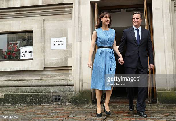 British Prime Minister David Cameron and his wife Samantha Cameron leave after voting in the EU Referendum at Central Methodist Hall Wesminster on...