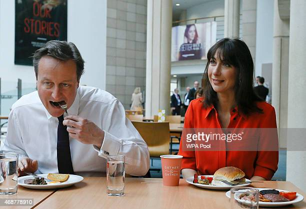 British Prime Minister David Cameron and his wife Samantha eat breakfast during a visit to financial firm Scottish Widows on April 7 2015 in...