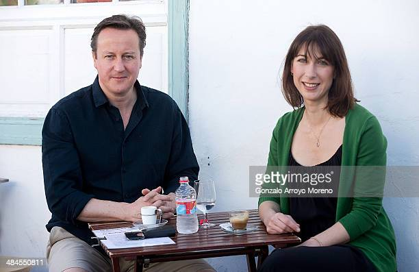 British Prime Minister David Cameron and his wife Samantha stop for a drink by a beach during their holiday on the Spanish Island of Lanzarote on...