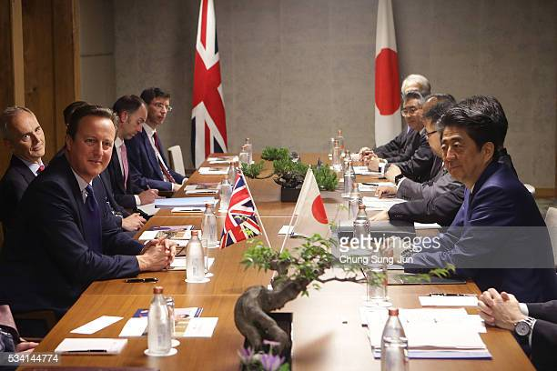 British Prime Minister David Cameron and Japanese Prime Minister Shinzo Abe are seen during a bilateral meeting on May 24, 2016 in Shima, Japan. The...