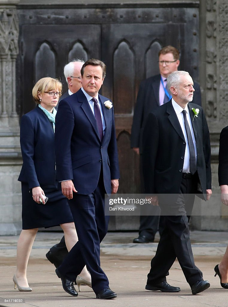 British Prime Minister David Cameron and Labour party leader Jeremy Corbyn arrive for a remembrance service for Jo Cox at St Margaret's church on June 20, 2016 in London, England. Parliament was recalled from recess today so MPs could pay tribute to Jo Cox, Labour MP for Batley and Spen, who was murdered in her constituency last Thursday.