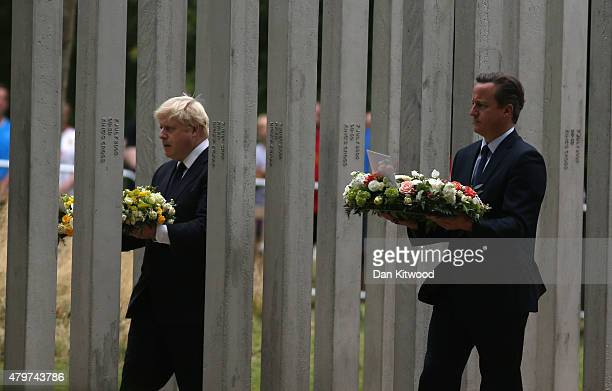 British Prime Minister David Cameron and London Mayor Boris Johnson during a ceremony at the memorial to the victims of the July 7 2005 London...