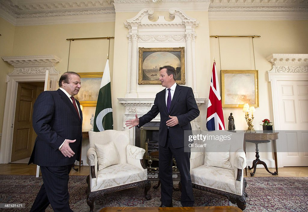British Prime Minister David Cameron (R) and Prime Minister of Pakistan Muhammad Nawaz Sharif hold a meeting in the White Room of Number 10 Downing Street on April 30, 2014 in London, England. During his visit to the UK, Mr Sharif is scheduled to meet with David Cameron, address an Investment Conference and meet members of the Pakistani Diaspora.