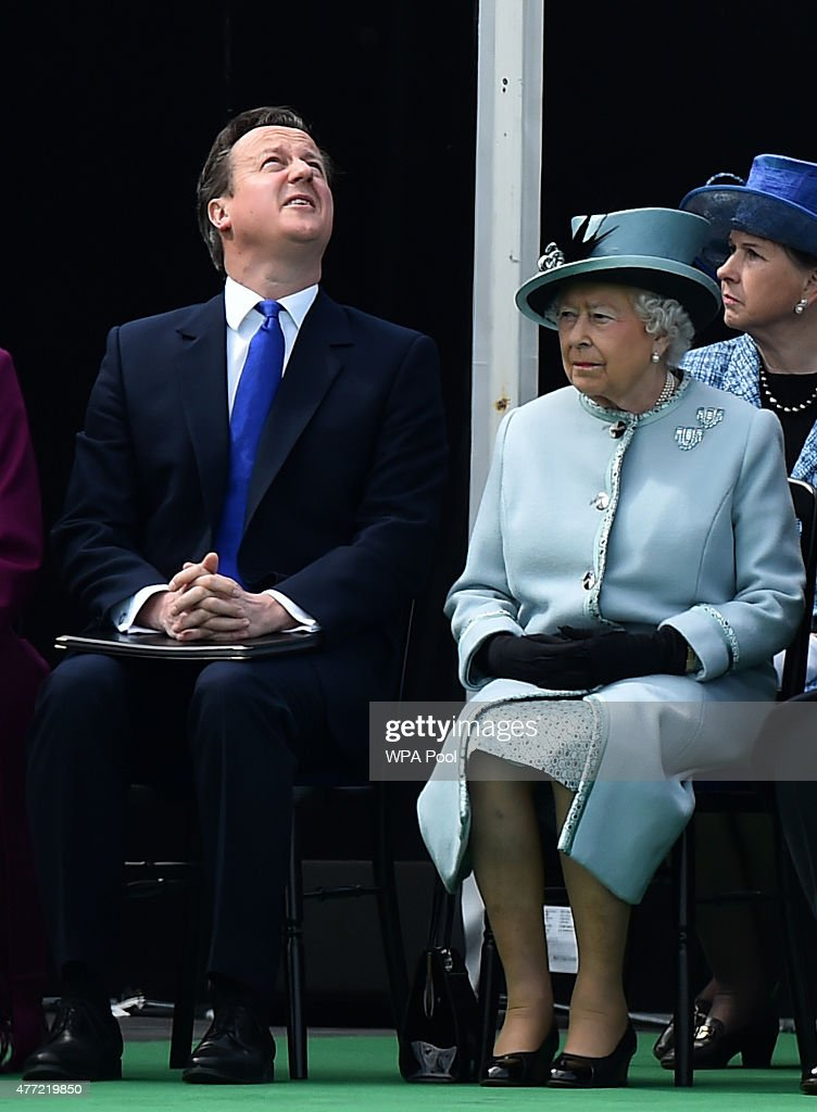 British Prime Minister David Cameron (L) and Queen Elizabeth II (R) attend a service to mark the 800th anniversary of Magna Carta on June 15, 2015 in Runnymede, United Kingdom. Members of the Royal Family are visiting Runnymede to attend an event commemorating the 800th anniversary of Magna Carta. Magna Carta is widely recognised as one of the most significant documents in history. Its influence, as a cornerstone of fundamental liberties, is felt around the world in the constitutions and political traditions of countless nations.