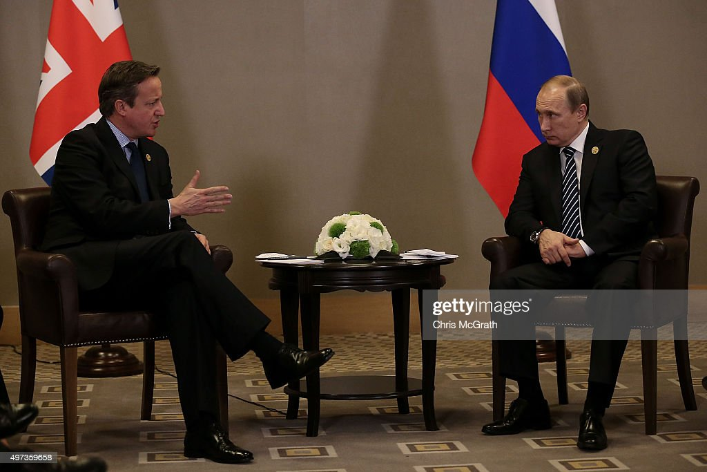 British Prime Minister David Cameron and Russian President Vladimir Putin talk during their bilateral meeting on day two of the G20 Turkey Leaders Summit on November 16, 2015 in Antalya, Turkey. World leaders will use the summit to discuss issues including, climate change, the global economy, the refugee crisis and terrorism. The two day summit takes place in the wake of the massive terrorist attack in Paris which killed more than 120 people.