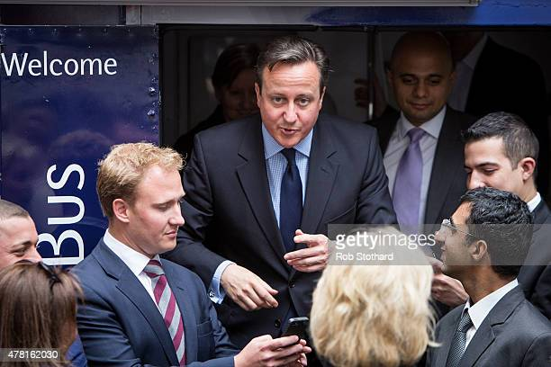 British Prime Minister David Cameron and Sajid Javid Secretary of State for Business Innovation and Skills leave 10 Downing Street on June 23 2015 in...