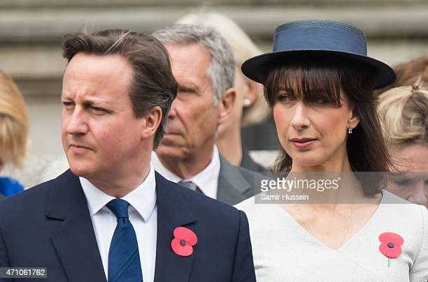 British Prime Minister David Cameron and Samantha Cameron attend the wreath-laying ceremony at the Cenotaph to commemorate ANZAC Day and the...