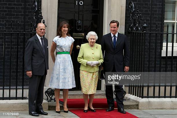 British Prime Minister David Cameron and Samantha Cameron host a lunch at No10 for Queen Elizabeth II and Prince Phillip Duke of Edinburgh to...