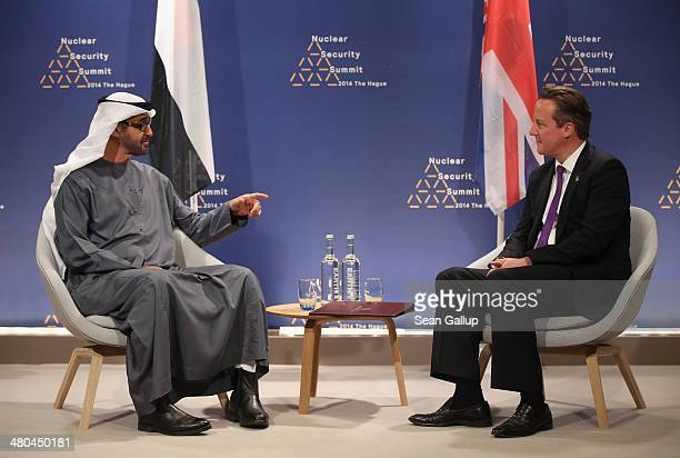 British Prime Minister David Cameron and Sheikh Abdullah bin Zayed Al Nahyan Crown Prince of Abu Dahbi speak with one another during bilateral talks...