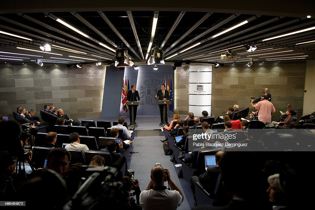 British Prime Minister David Cameron (L) and Spanish Prime Minister Mariano Rajoy (R) attend a press conference at Moncloa Palace on September 4, 2015 in Madrid, Spain. David Cameron is visiting Spain and Portugal as part of a tour to seek for support from fellow European leaders to go along with a renegotiation of Britain's EU membership. Rajoy and Cameron are also expect to talk about the refugees crisis the European Union is facing.