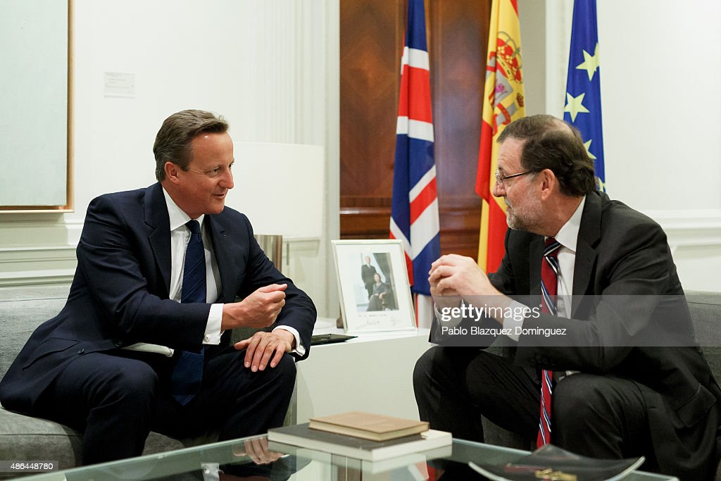 British Prime Minister David Cameron (L) and Spanish Prime Minister Mariano Rajoy (R) talk in front of the press during a meeting at Moncloa Palace on September 4, 2015 in Madrid, Spain. David Cameron is visiting Spain and Portugal as part of a tour to seek for support from fellow European leaders to go along with a renegotiation of Britain's EU membership. Rajoy and Cameron are also expect to talk about the refugees crisis the European Union is facing.