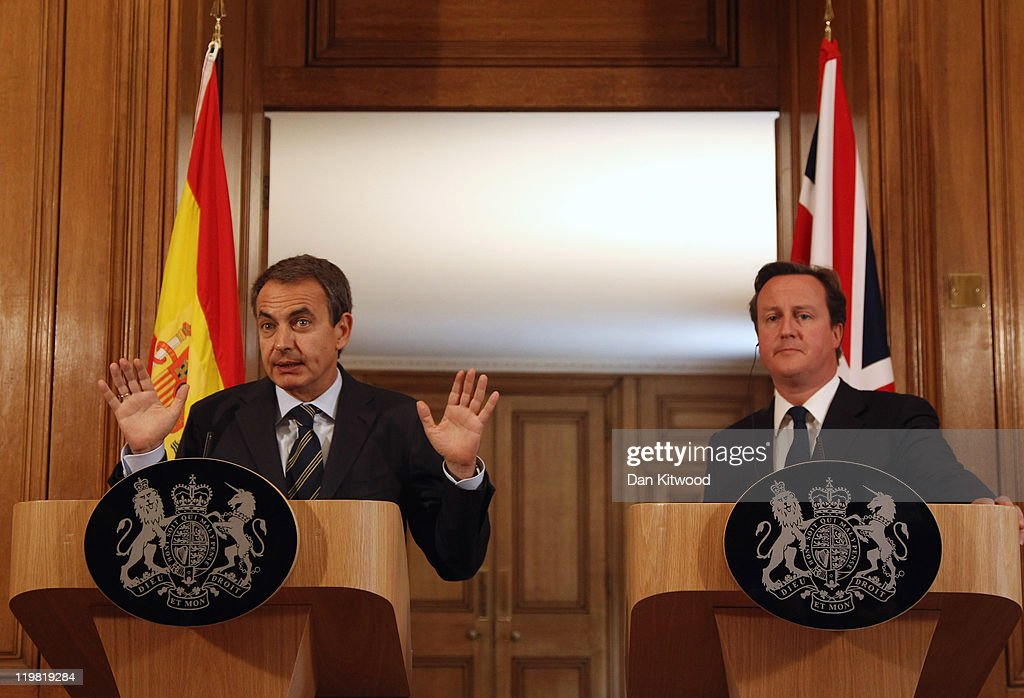 British Prime Minister David Cameron (L) and Spanish Prime Minister Jose Luis Rodriguez Zapatero hold a joint press conference at 10 Downing Streeet on July 25, 2011 in London, England. Mr Cameron held a joint press conference with his Spanish counterpart to discuss the recent tragedy in Norway, the conflict in Libya and the famine in the Horn of Africa.