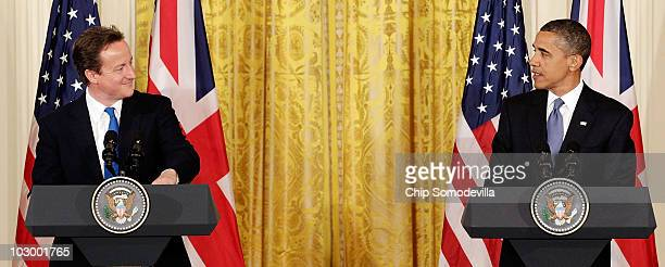 British Prime Minister David Cameron and US President Barack Obama hold a joint news conference in the East Room of the White House July 20 2010 in...