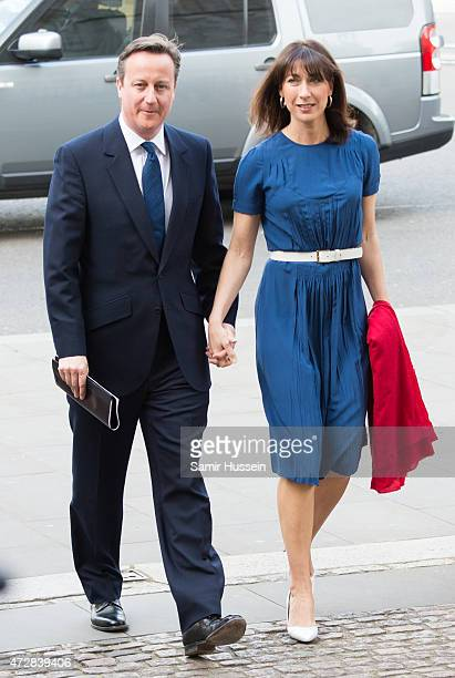 British Prime Minister David Cameron and wife Samantha Cameron attend a Service of Thanksgiving to mark the 70th anniversary of Victory in Europe at...