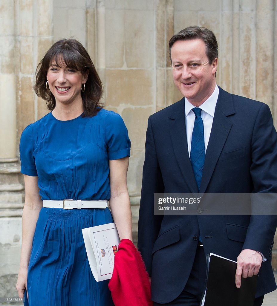 British Prime Minister David Cameron and wife Samantha Cameron attend a Service of Thanksgiving to mark the 70th anniversary of Victory in Europe at Westminster Abbey on May 10, 2015 in London, England.