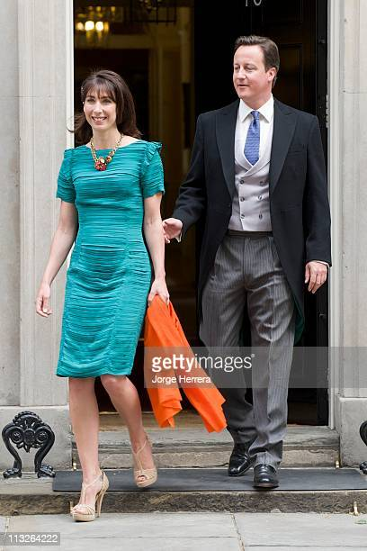 British Prime Minister David Cameron and wife Samantha Cameron depart 10 Downing Street for the Wedding of Prince William with Catherine Middleton at...