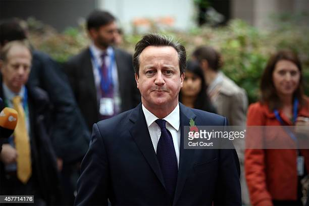 British Prime Minister David Cameron arrives at the headquarters of the Council of the European Union at the beginning of a twoday European Council...