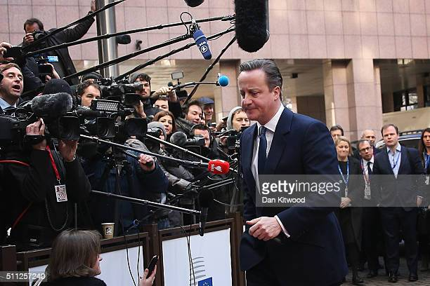 British Prime Minister David Cameron arrives during the second day of the EU Summit as he continues his attempts to negotiate new membership terms...