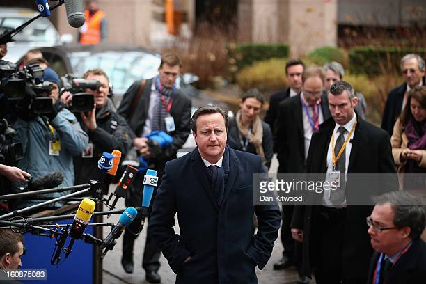 British Prime Minister David Cameron arrives for the start of the European Council Meeting on February 7, 2013 in Brussels, Belgium. The President of...