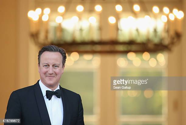 British Prime Minister David Cameron arrives for the state banquet in honour of Queen Elizabeth II at Schloss Bellevue palace on the second of the...