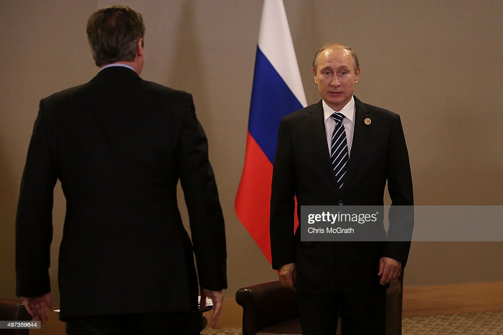 British Prime Minister David Cameron arrives to meet Russian President Vladimir Putin during their bilateral meeting on day two of the G20 Turkey Leaders Summit on November 16, 2015 in Antalya, Turkey. World leaders will use the summit to discuss issues including, climate change, the global economy, the refugee crisis and terrorism. The two day summit takes place in the wake of the massive terrorist attack in Paris which killed more than 120 people.