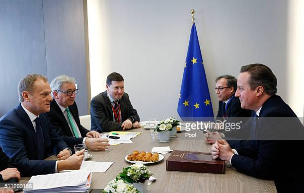 British Prime Minister David Cameron attends a bilateral meeting with European Council President Donald Tusk and European Commission President...