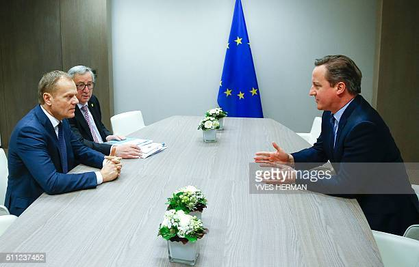 British Prime Minister David Cameron attends a meeting with and European Council President Donald Tusk and European Commission President Jean Claude...