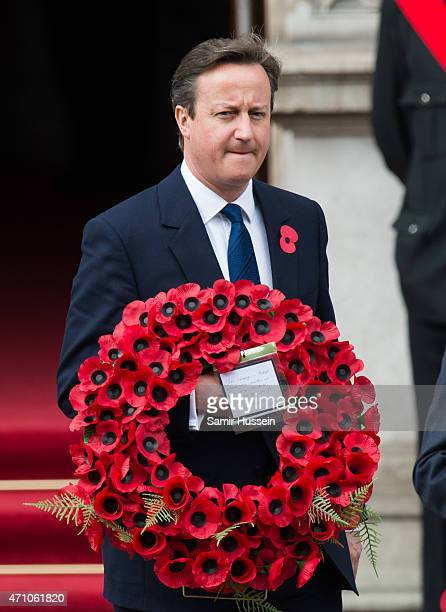 British Prime Minister David Cameron attends the wreath-laying ceremony at the Cenotaph to commemorate ANZAC Day and the Centenary of the Gallipoli...