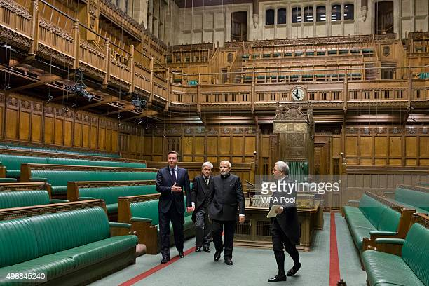 British Prime Minister David Cameron Britain's Speaker of the House of Commons John Bercow and Indian Prime Minister Narendra Modi on a tour of The...