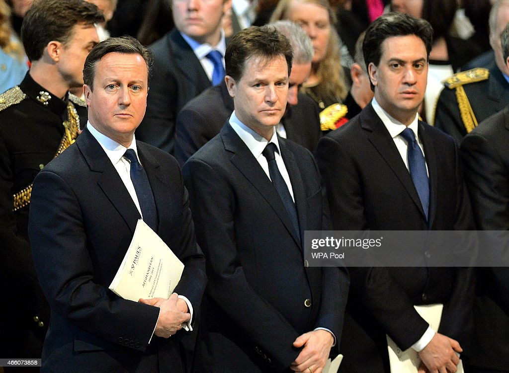 British Prime Minister David Cameron, British Deputy Prime Minister Nick Clegg and British Labour party leader Ed Miliband attend a Service of Commemoration for troops who were stationed in Afghanistan at St Paul's Cathedral on March 13, 2015 in London, England.