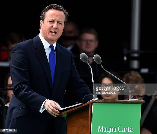 British Prime Minister David Cameron delivers a speech during a service to mark the 800th anniversary of Magna Carta at Runnymede near Windsor west...