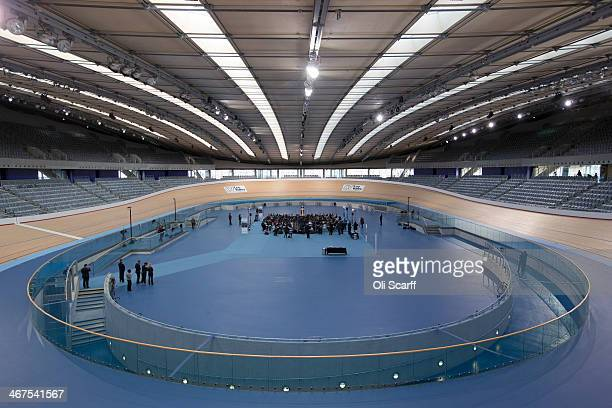 British Prime Minister David Cameron delivers a speech from the Velodrome on the 2012 Olympic Park to campaign for a 'no' vote in Scotland's...