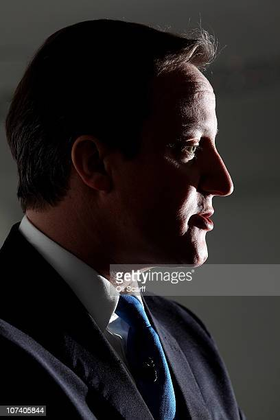 British Prime Minister David Cameron delivers a speech on higher education funding at Royal Mint Court on December 8 2010 in London England Mr...