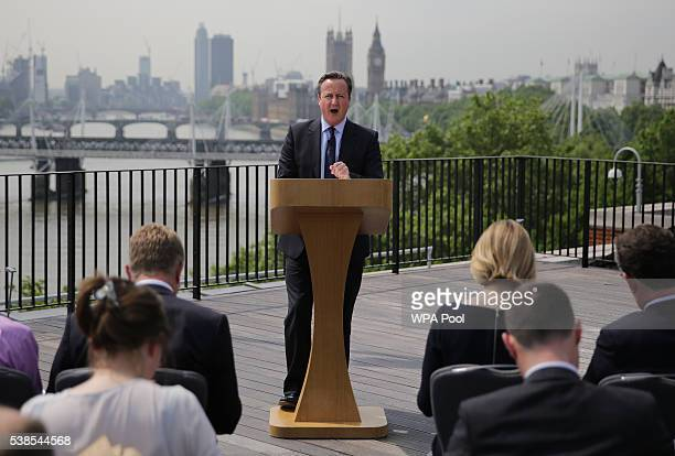 British Prime Minister David Cameron delivers a speech on the upcoming EU referendum at the Savoy Place on June 7 2016 in London United Kingdom Prime...