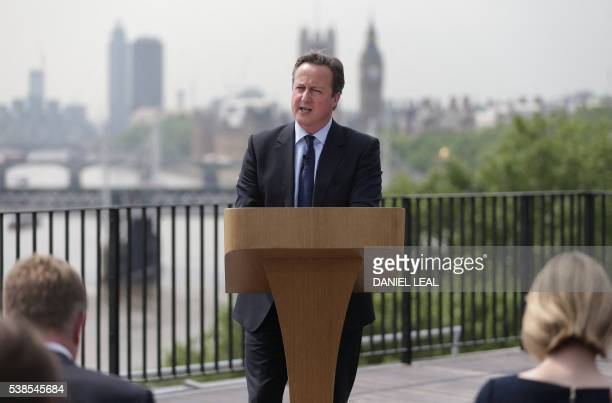 British Prime Minister David Cameron delivers a speech on the upcoming EU referendum at the Savoy Place in London on June 7 2016 Prime Minister David...
