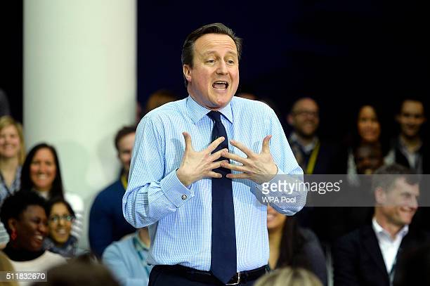 British Prime Minister David Cameron delivers a speech on the European Union to workers and guests at the headquarters of O2 on February 23 2016 in...