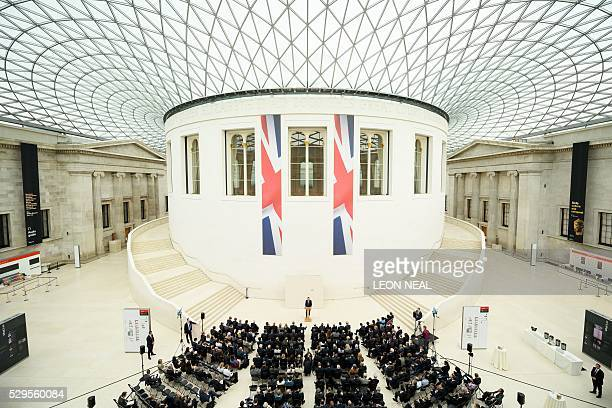 British Prime Minister David Cameron delivers a speech on the European Union at the British Museum in central London on May 9 2016 Prime Minister...