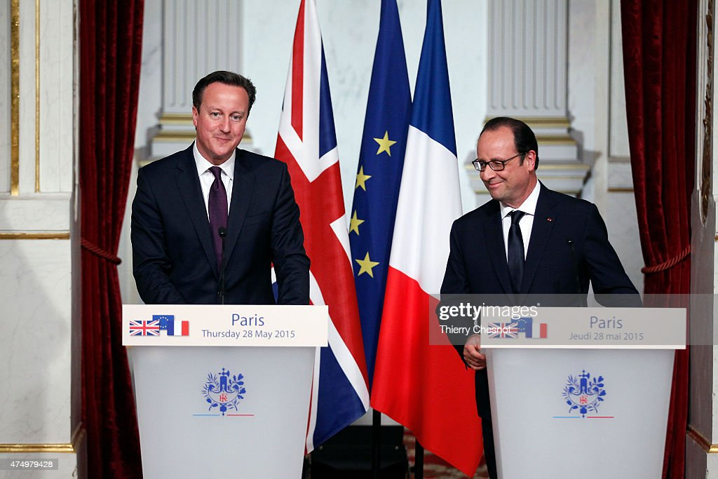 British Prime Minister David Cameron delivers a speech with French President Francois Hollande during a press conference after their meeting at the Elysee Palace on May 28, 2015 in Paris, France. David Cameron met Francois Hollande to discuss the situation concerning the United Kingdom in the European Union.