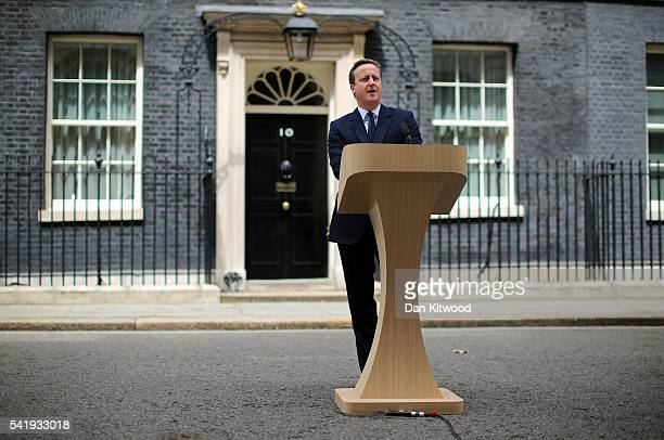British Prime Minister David Cameron delivers a statement on the steps of Downing Street outlining his position on the future of the United Kingdom...