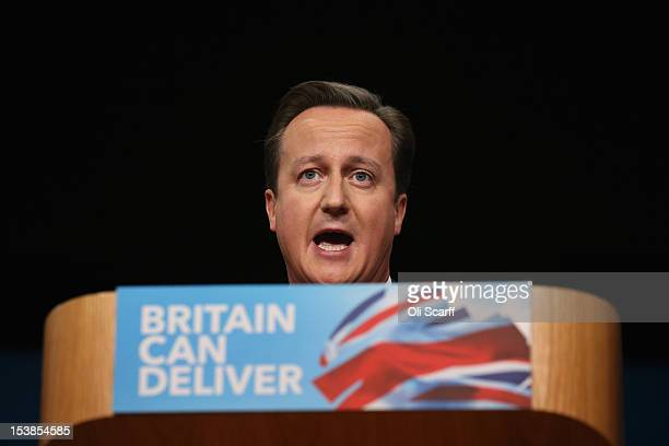British Prime Minister David Cameron delivers his speech to delegates on the last day of the Conservative party conference, in the International...