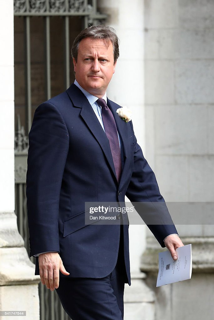 British Prime Minister David Cameron departs St Margaret's church on June 20, 2016 in London, England. Parliament was recalled from recess today so MPs could pay tribute to Jo Cox, Labour MP for Batley and Spen, who was murdered in her constituency last Thursday.