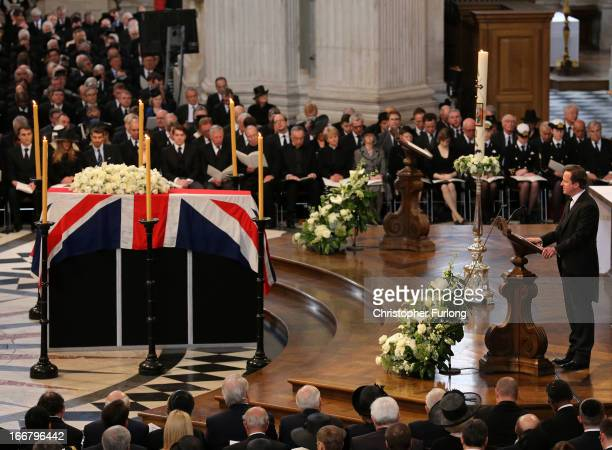 British Prime Minister David Cameron gives a reading by the coffin during the Ceremonial funeral of former British Prime Minister Baroness Thatcher...