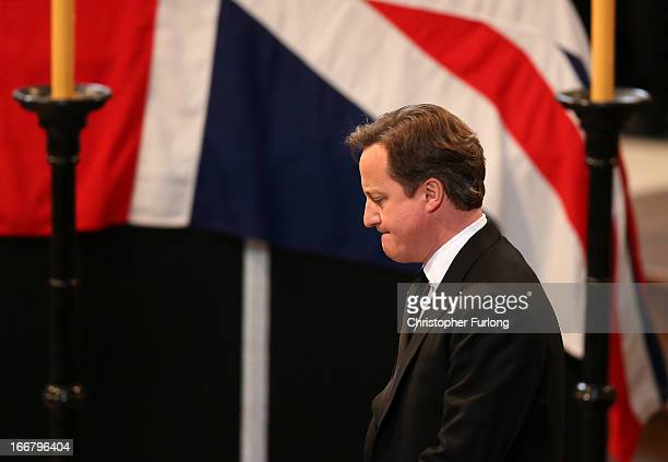 British Prime Minister David Cameron gives a reading during the Ceremonial funeral of former British Prime Minister Baroness Thatcher at St Paul's...