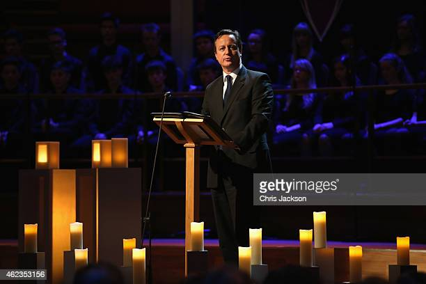 British Prime Minister David Cameron gives a speech as he attends a Holocaust Memorial Day ceremony at Central Hall Westminster on January 27, 2015...