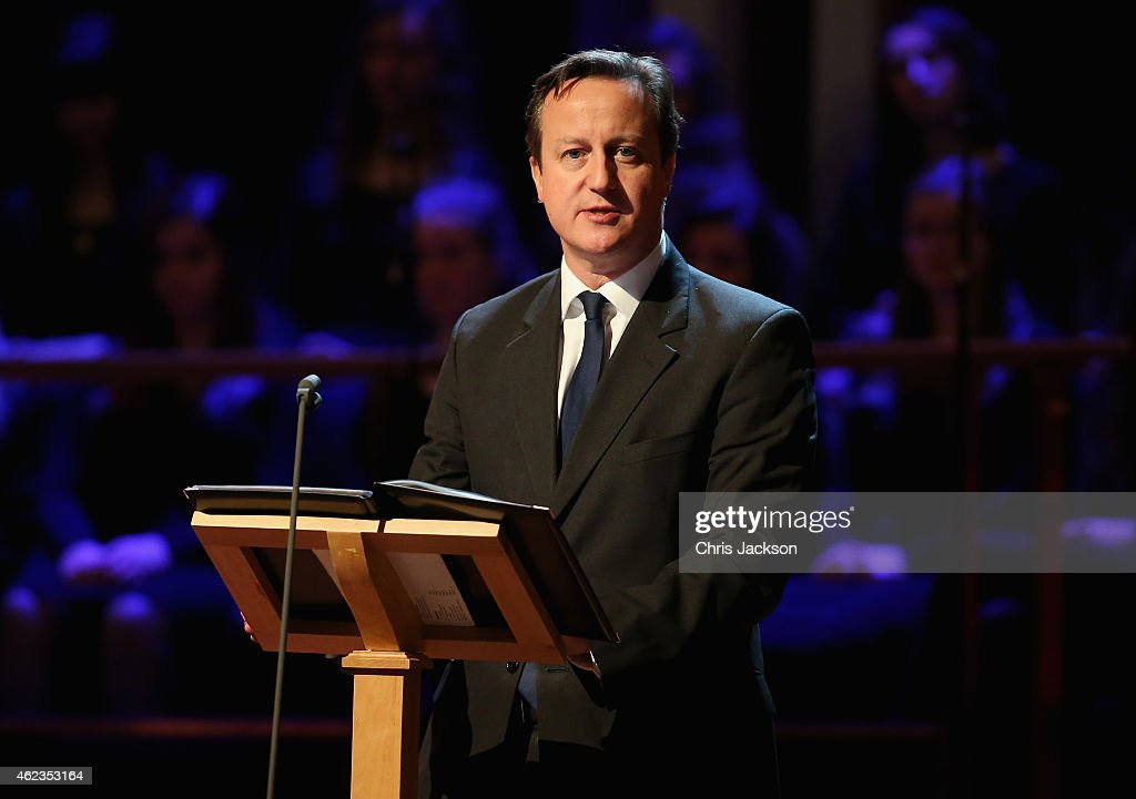 British Prime Minister David Cameron gives a speech as he attends a Holocaust Memorial Day ceremony at Central Hall Westminster on January 27, 2015 in London, England.