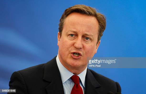 British Prime Minister David Cameron gives a speech at the Farnborough International Airshow on July 11 2016 in Farnborough United KingdomMr Cameron...